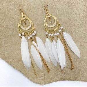 Gold & White Bohemian Feather Dangle Earrin…